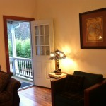 Vacation Rental Living Room and Back Door, Twin Gables, Skamokawa, WA